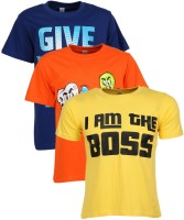 Gkidz Graphic Print Boy's Round Neck T-Shirt - Pack Of 3