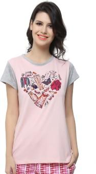 Clovia Graphic Print Women's Round Neck Pink, Grey T-Shirt