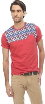 Basics Printed Men's Round Neck Red T-Shirt