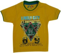 Globe Graphic Print Baby Boy's Round Neck Yellow T-Shirt