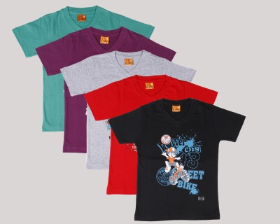 Provalley Printed Boy's V-neck 5 Pack T-Shirt at Rs 819 - Free Delivery by Flipkart