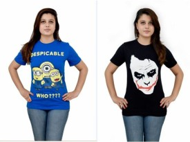 The Dry State Graphic Print Women's Round Neck Blue, Black T-Shirt Pack Of 2