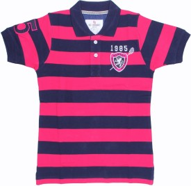 SEABOARD Striped Boy's Polo Neck Blue, Pink T-Shirt