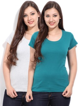 Fort Collins Solid Women's Round Neck Grey, Blue T-Shirt