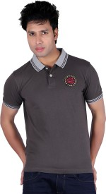 Austin Wood Solid Men's Polo Neck Grey T-Shirt