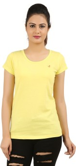 New Darling Solid Women's Round Neck Yellow T-Shirt