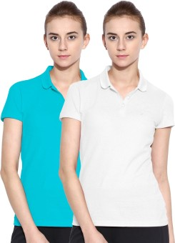 Polo Nation Solid Women's Polo Neck White, Light Blue T-Shirt Pack Of 2
