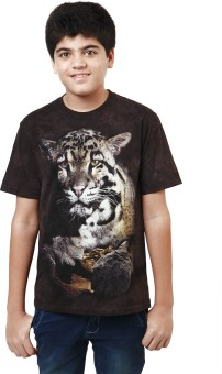 The Mountain Printed Boy's Round Neck Brown, Black T-Shirt