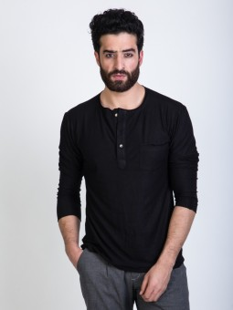 Mr Button Black Full Sleave Solid Men's Henley T-Shirt