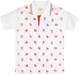 Tonyboy Printed Boy's Polo Neck White T-Shirt