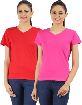 Ap'pulse Solid Women's V-neck Red, Pink T-Shirt Pack Of 2