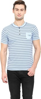 Duke Stardust Striped Men's Mandarin Collar Blue T-Shirt