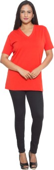 Finesse Solid Women's V-neck Red T-Shirt
