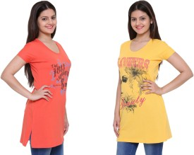 IN Love Graphic Print Women's Round Neck Yellow, Pink T-Shirt Pack Of 2