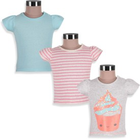Mothercare Striped Girl's Round Neck Grey, Blue, Pink T-Shirt Pack Of 3