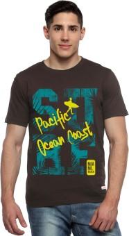 ADRO Printed Men's Round Neck Brown T-Shirt