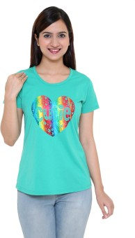 IN Love Printed Women's Round Neck Green T-Shirt