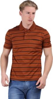 Moonwalker Striped Men's Polo Brown T-Shirt