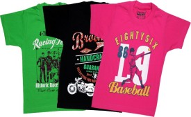 AJ Dezines Graphic Print Boy's Round Neck Pink, Blue, Green T-Shirt Pack Of 3