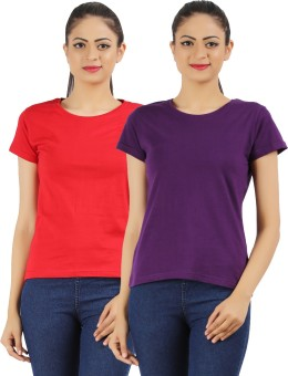 Ap'pulse Solid Women's Round Neck Red, Purple T-Shirt Pack Of 2
