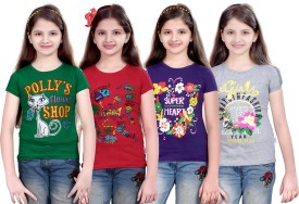Sinimini Printed Girl's Round Neck Green, Pink, Purple, Silver T-Shirt Pack Of 4