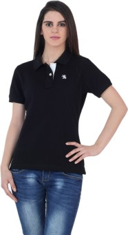 The Cotton Company Luxury Solid Women's Polo Neck T-Shirt - TSHE4FP9DADY3VYX