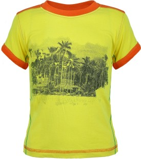 UFO Graphic Print Boy's Round Neck Yellow T-Shirt