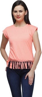 CHERYMOYA Solid Women's Round Neck Pink T-Shirt