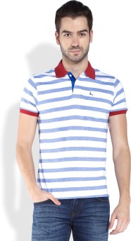 Parx Striped Men's Polo Neck Blue T-Shirt