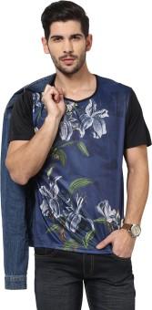 Yepme Printed Men's Scoop Neck Blue T-Shirt