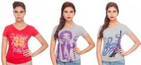 Tsg Breeze Printed Women's V-neck T-Shirt Pack Of 3