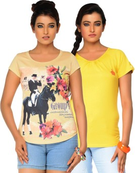 Jazzup Printed Women's V-neck Yellow, Beige T-Shirt Pack Of 2