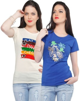 Jazzup Printed Women's Round Neck Blue, Beige T-Shirt Pack Of 2