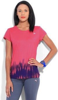 Adidas Printed Women's Round Neck Blue, Pink T-Shirt
