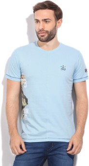 Fila Printed Men's Round Neck Light Blue T-Shirt
