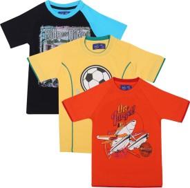 SPN Garments Printed Boy's Round Neck Dark Blue, Orange, Yellow T-Shirt