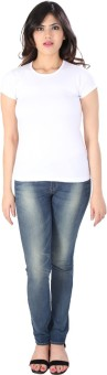 Dovekie Solid Women's Round Neck White T-Shirt