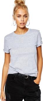 Young Trendz Solid Women's Round Neck Grey T-Shirt