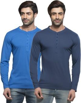 Alan Jones Solid Men's Henley Blue, Dark Blue T-Shirt Pack Of 2