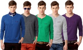 Rodid Solid Men's Henley Blue, Grey, Green, Grey, Purple T-Shirt Pack Of 5