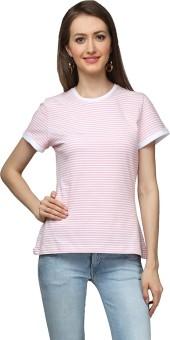 Cherymoya Self Design Women's Round Neck Pink T-Shirt