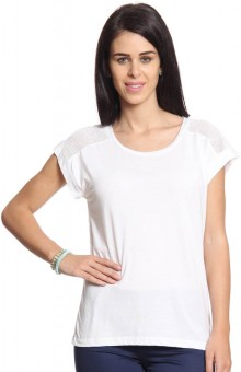 Cotton World Solid Women's Round Neck White T-Shirt