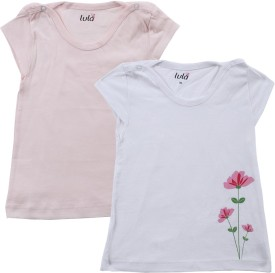 Lula Cap Sleeve Printed Baby Girl's Fashion Neck T-Shirt (Pack Of 2)