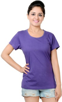 Neevov Purple Solid Women's Round Neck T-Shirt