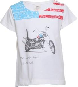 Tales & Stories Graphic Print Boy's Round Neck White T-Shirt