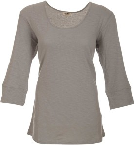 A33 Store Cotton 3/4 Sleeve Light Grey Solid Women's Round Neck T-Shirt