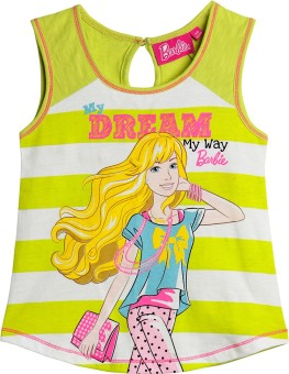 Barbie Graphic Print Girl's Round Neck Green, White T-Shirt