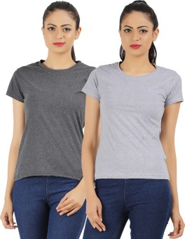 Ap'pulse Solid Women's Round Neck Grey, Grey T-Shirt Pack Of 2
