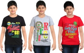 Dongli Printed Boy's Round Neck Black, Silver, Red T-Shirt Pack Of 3
