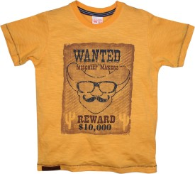 FS Mini Klub Printed Boy's Round Neck Yellow T-Shirt